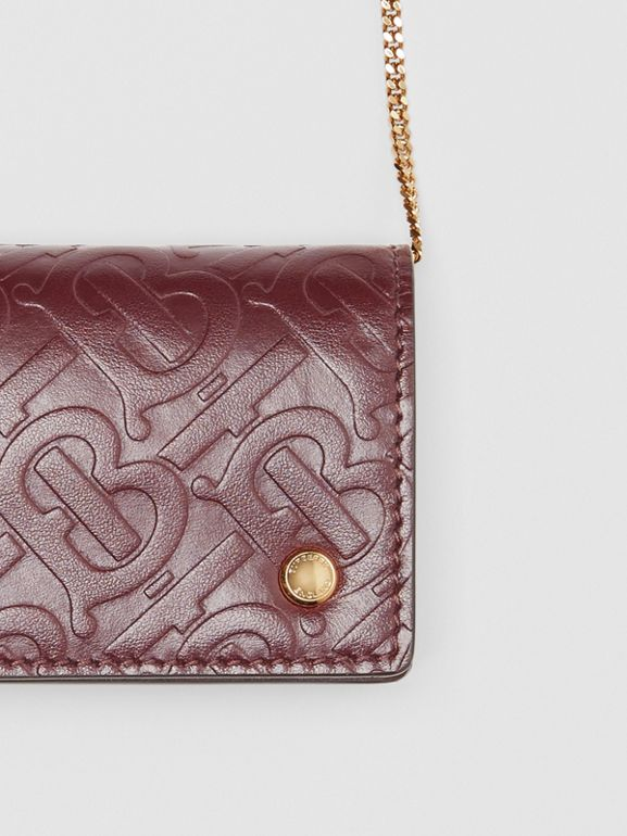 Monogram Leather Card Case with Detachable Strap in Oxblood - Women | Burberry - cell image 1
