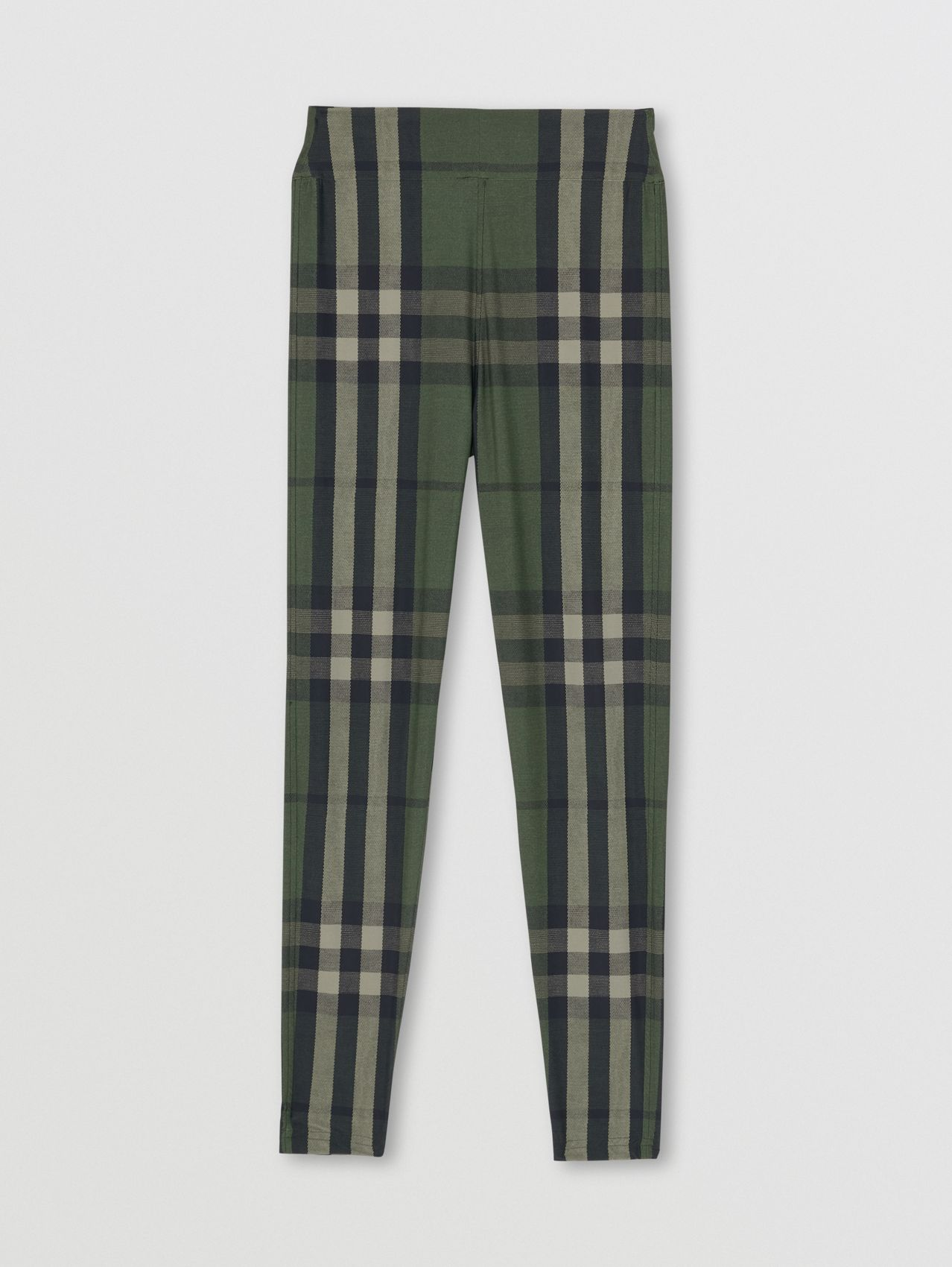 Leggings de malha stretch xadrez in Verde Militar