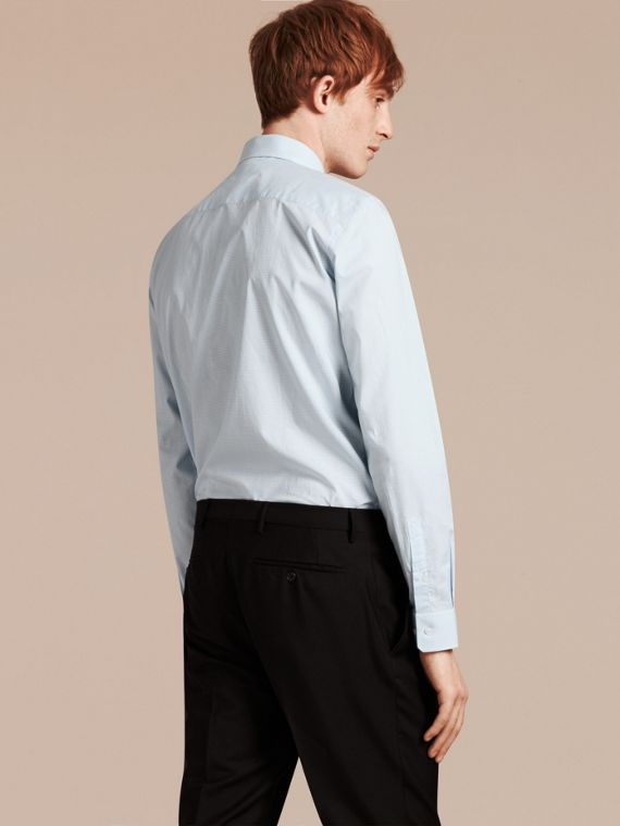 Slim Fit Gingham Cotton Poplin Shirt in City Blue - Men | Burberry - cell image 2