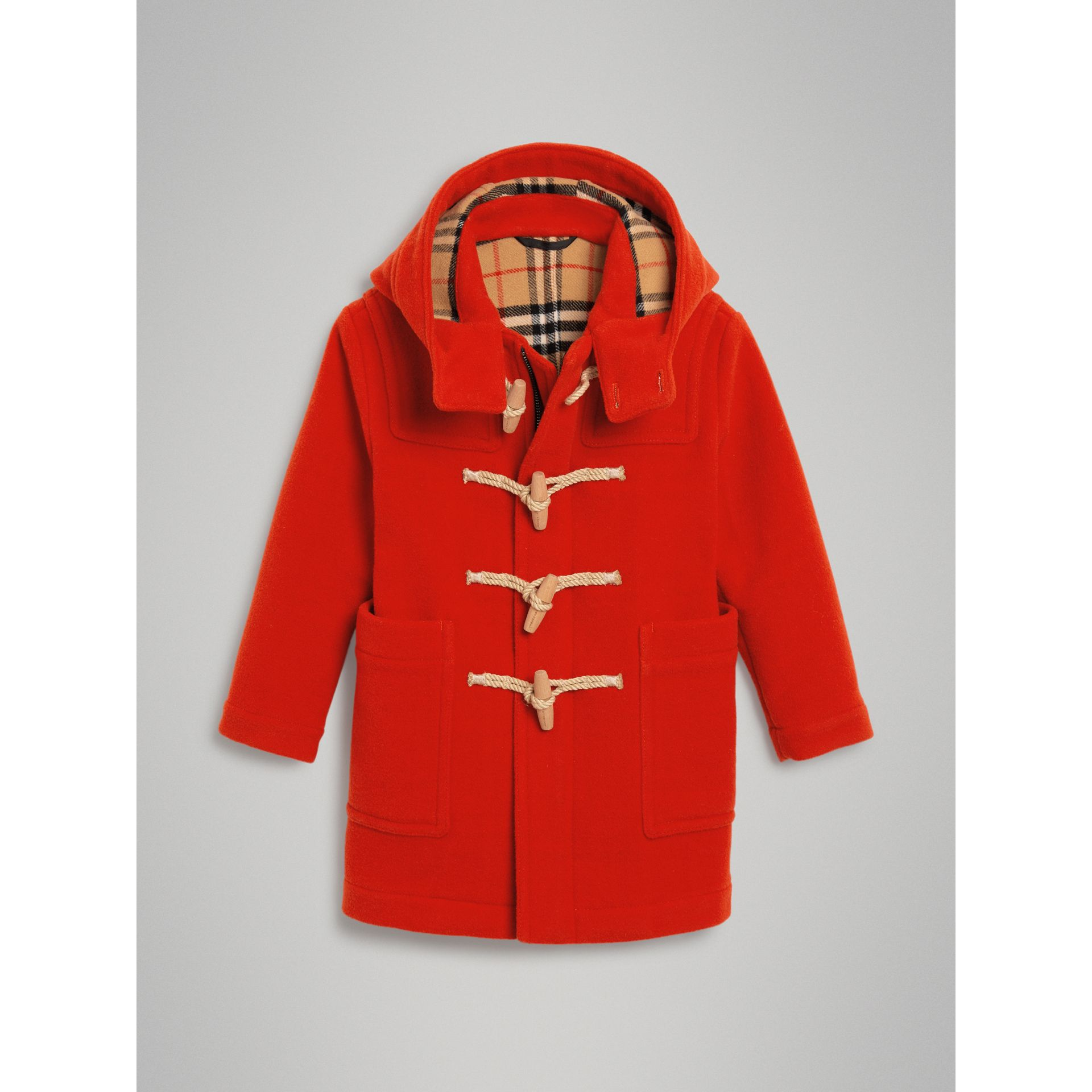 Double-faced Wool Duffle Coat in Orange Red | Burberry Australia - gallery image 0