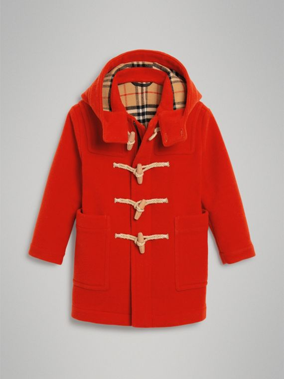 Duffle-coat en laine double face (Rouge Orangé)