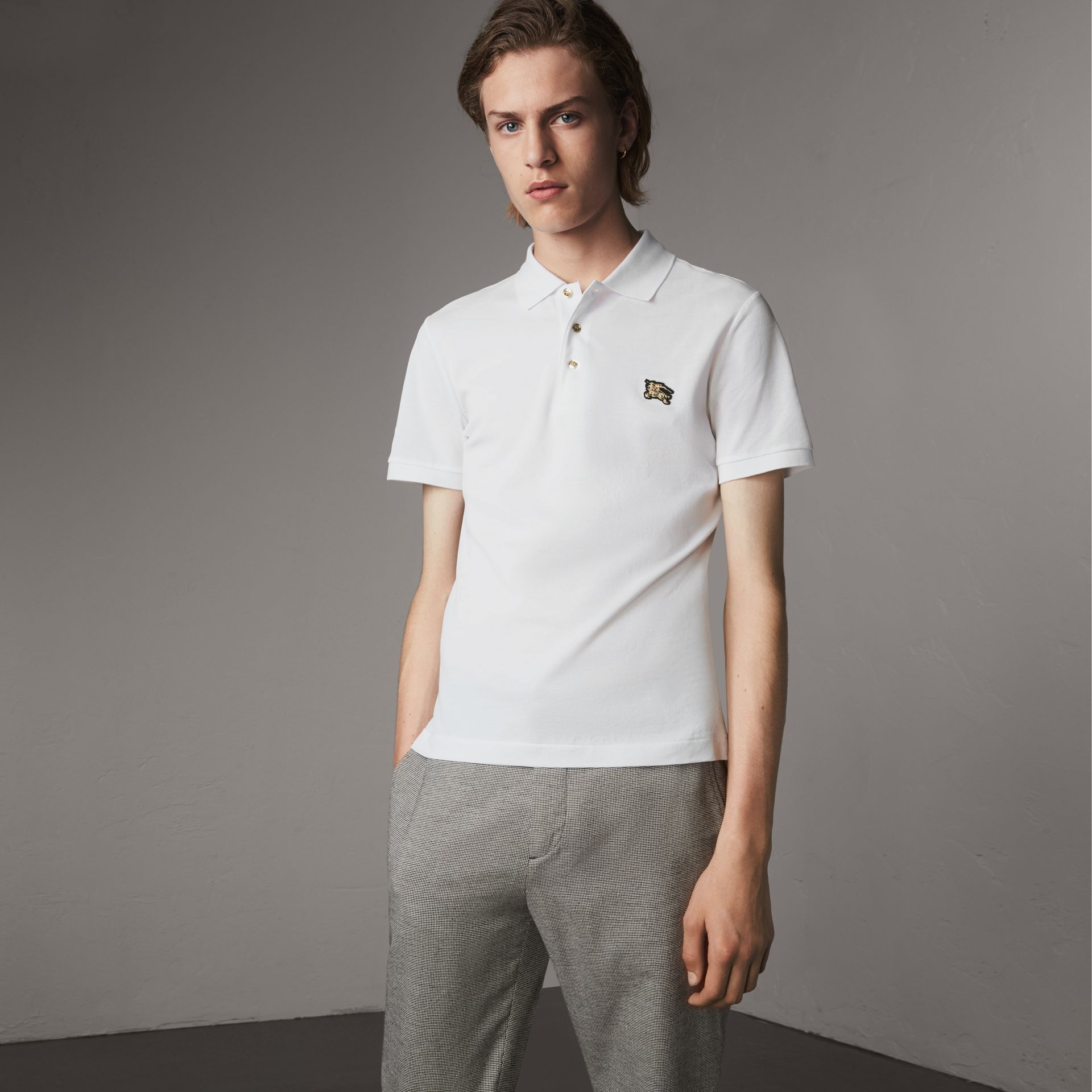 Cotton Piqué Polo Shirt in White - Men | Burberry - gallery image 0