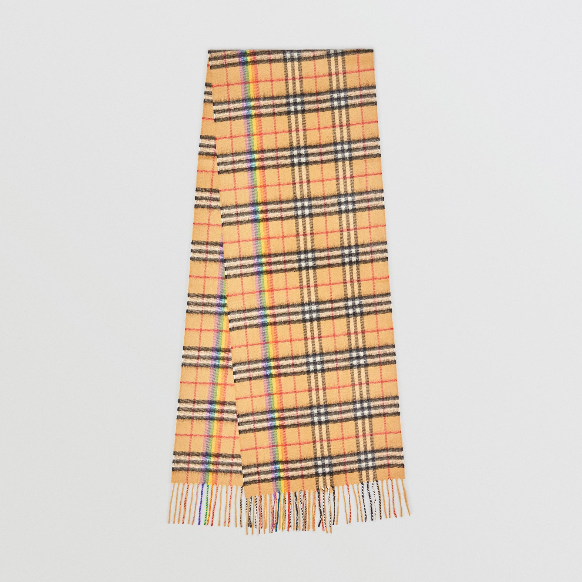 The Classic Rainbow Vintage Check Cashmere Scarf in Antique Yellow | Burberry United Kingdom - gallery image 0