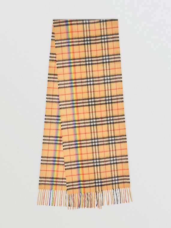 The Classic Rainbow Vintage Check Cashmere Scarf in Antique Yellow