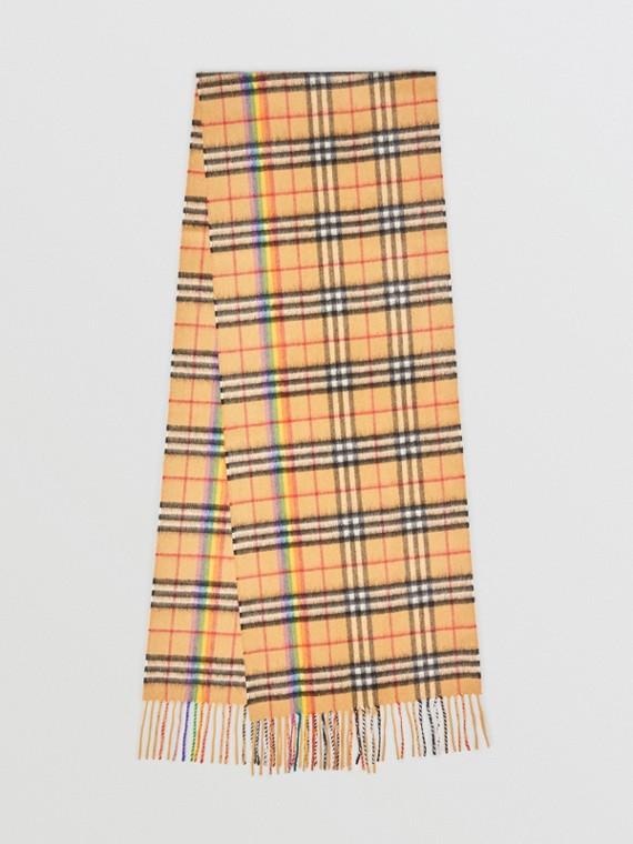 Bufanda clásica en cachemir de Rainbow Vintage Checks (Amarillo Envejecido)