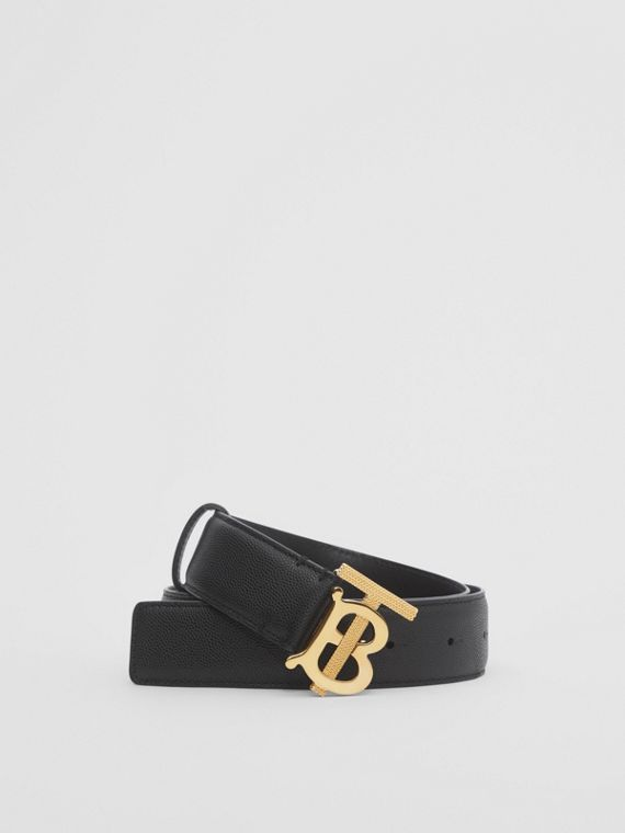 Monogram Motif Grainy Leather Belt in Black/light Gold