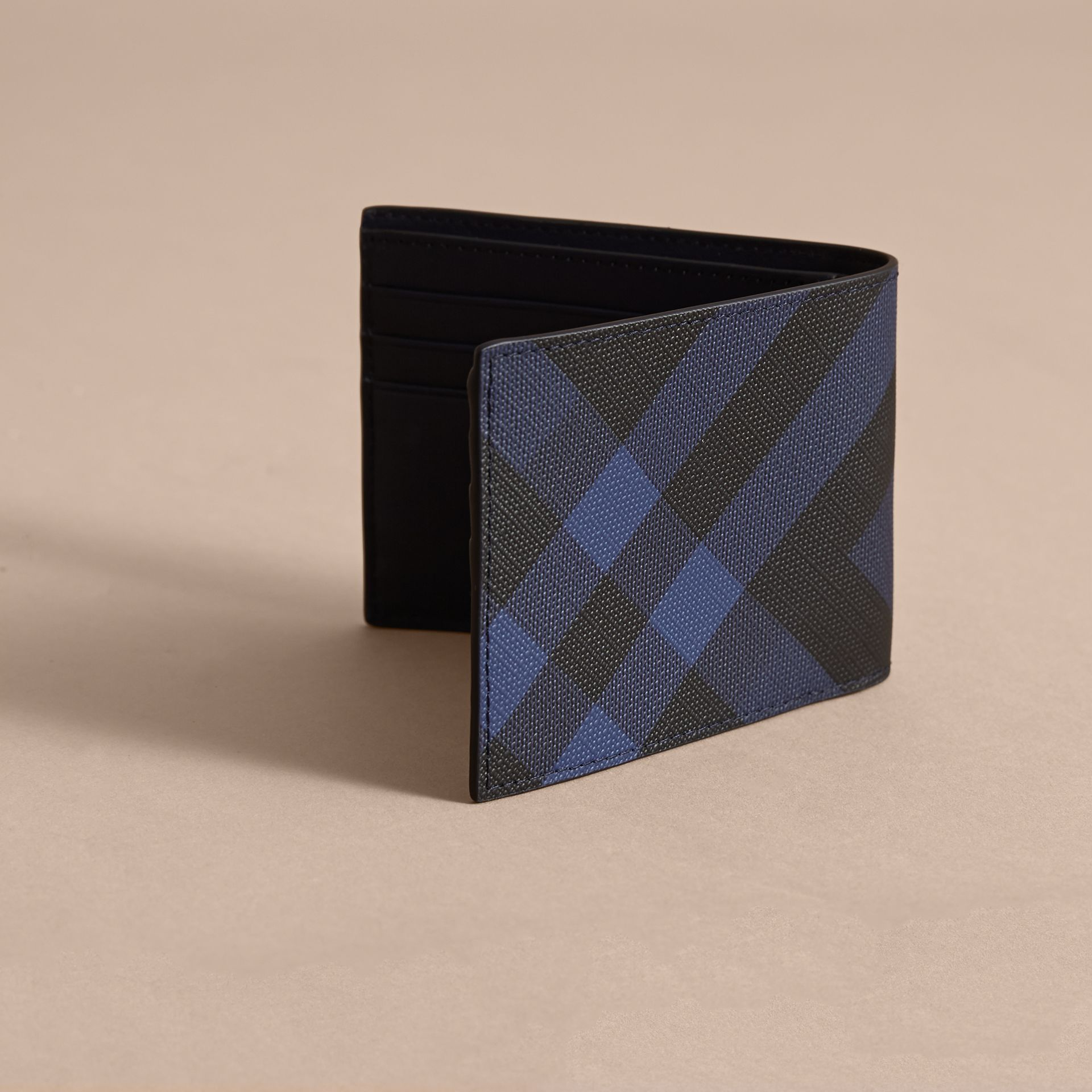 London Check Bifold Wallet in Bright Lapis - Men | Burberry - gallery image 4