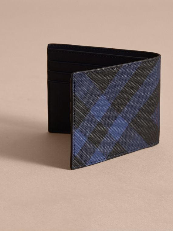 London Check Bifold Wallet in Bright Lapis - Men | Burberry - cell image 3