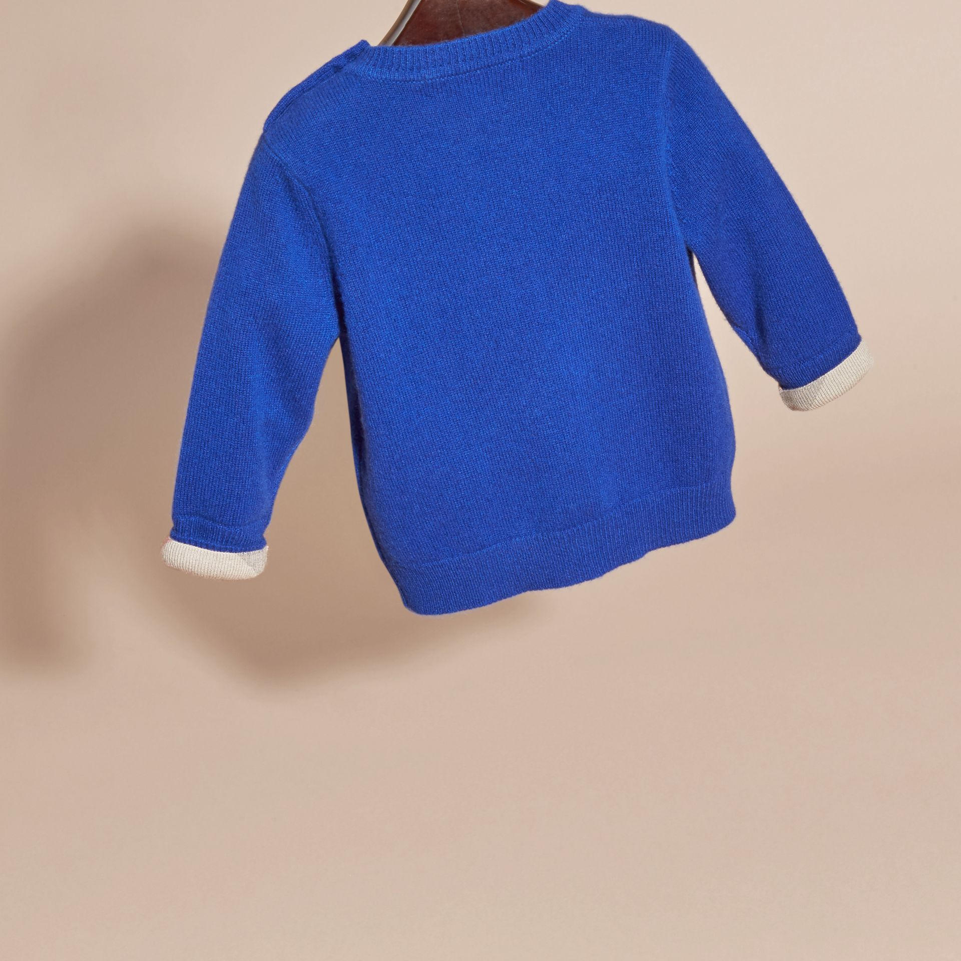 Brilliant blue Check Detail Cashmere Sweater Brilliant Blue - gallery image 4