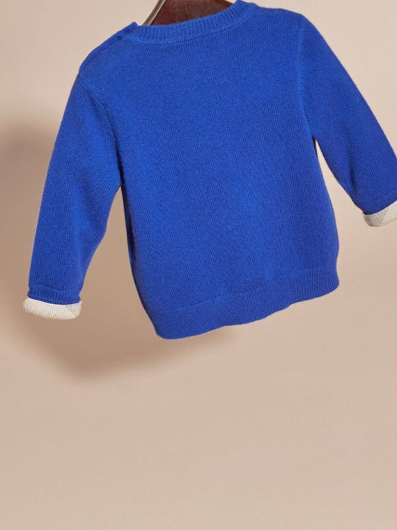 Brilliant blue Check Detail Cashmere Sweater Brilliant Blue - cell image 3