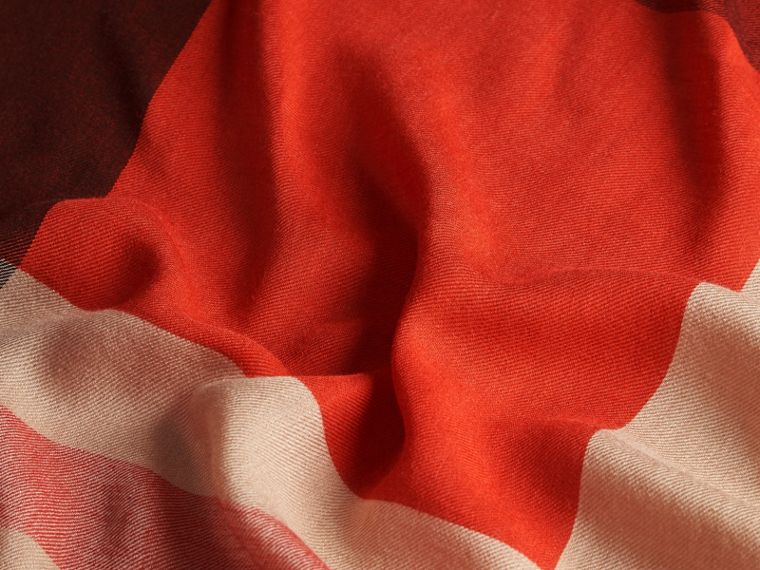 Lightweight Silk Wool Blend Check Square Scarf Orange Red - cell image 1