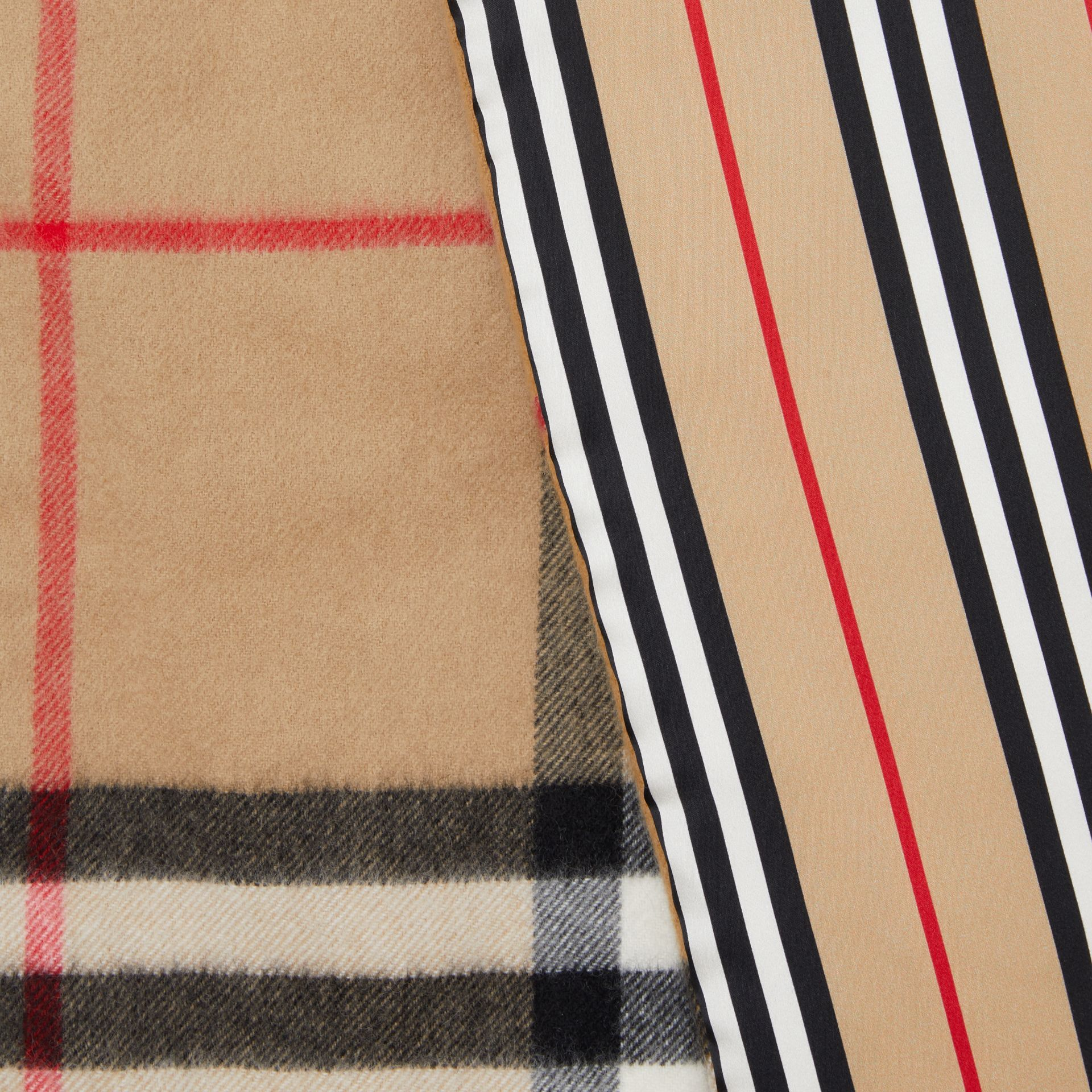 Check and Icon Stripe Cashmere Silk Puffer Scarf in Archive Beige | Burberry United Kingdom - gallery image 1