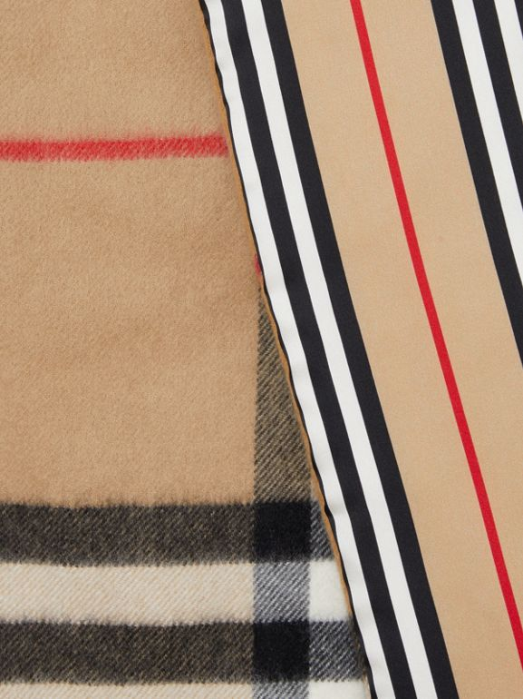 Check and Icon Stripe Cashmere Silk Puffer Scarf in Archive Beige | Burberry United Kingdom - cell image 1