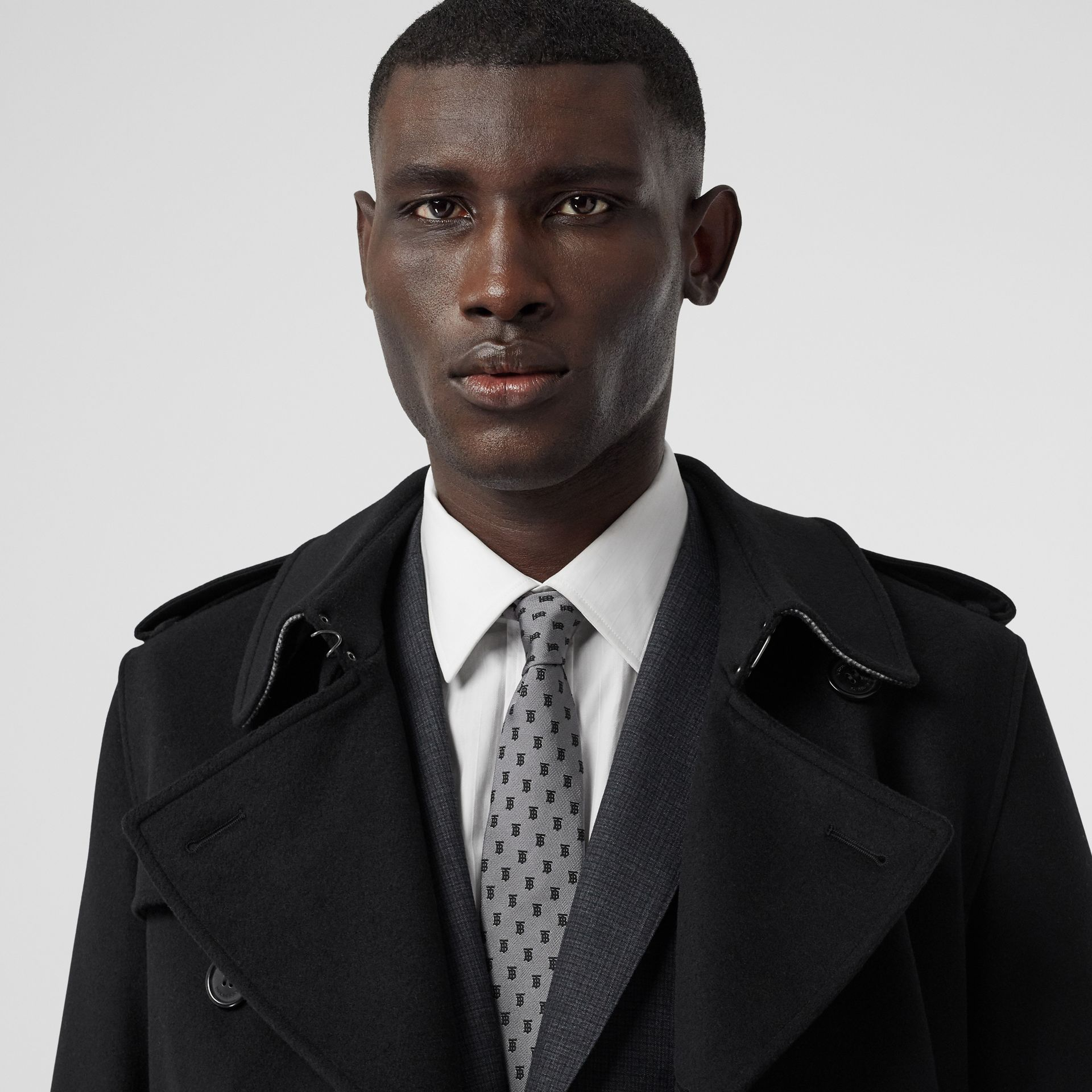 Classic Cut Monogram Silk Jacquard Tie in Mid Grey - Men | Burberry United Kingdom - gallery image 2