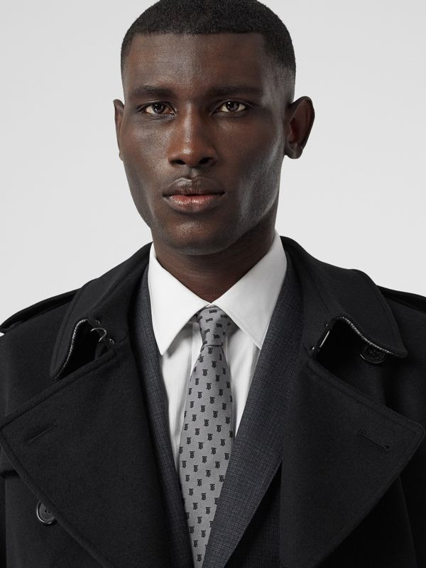 Classic Cut Monogram Silk Jacquard Tie in Mid Grey - Men | Burberry United Kingdom - cell image 2