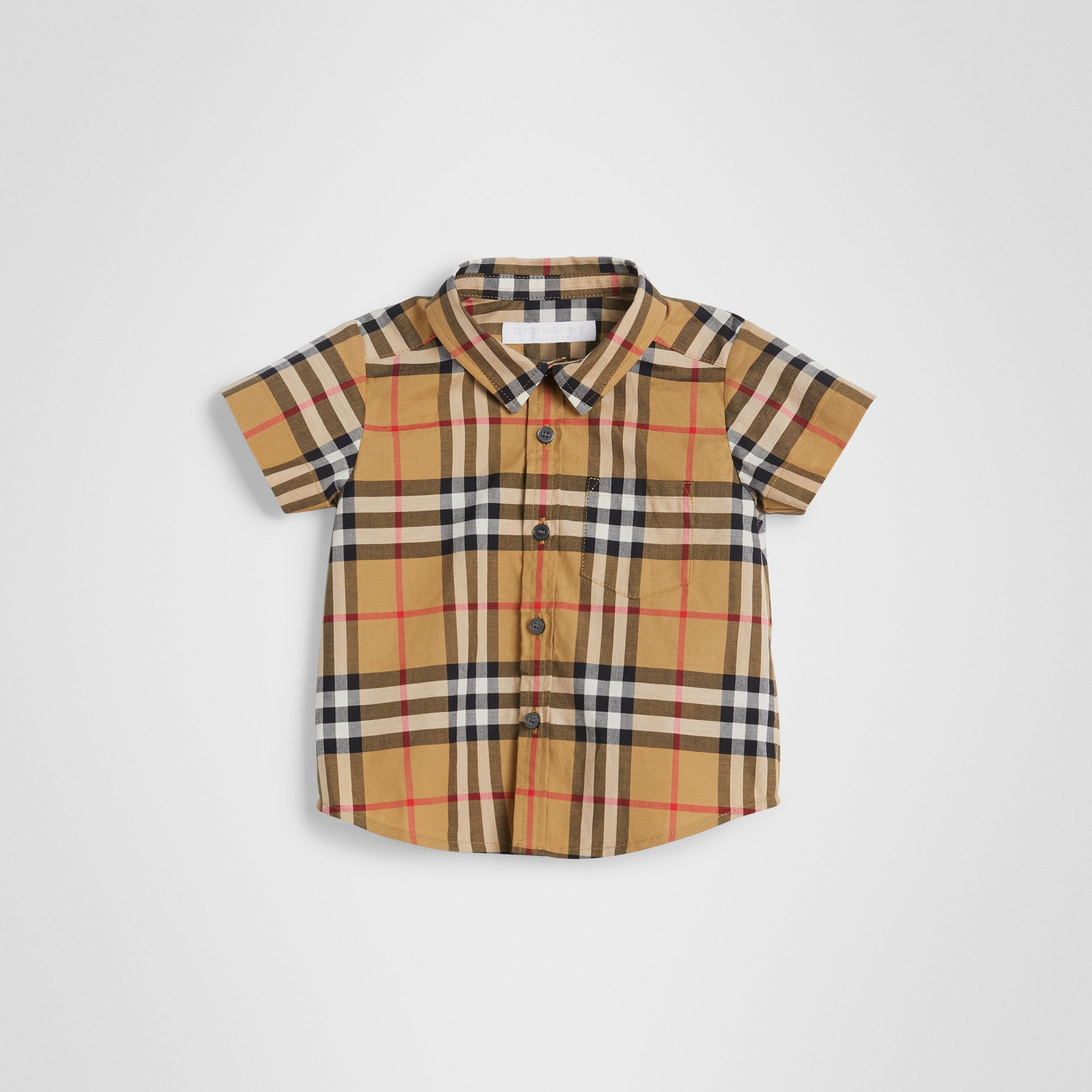 Short-sleeve Vintage Check Cotton Shirt in Antique Yellow - Children | Burberry United Kingdom - gallery image 0