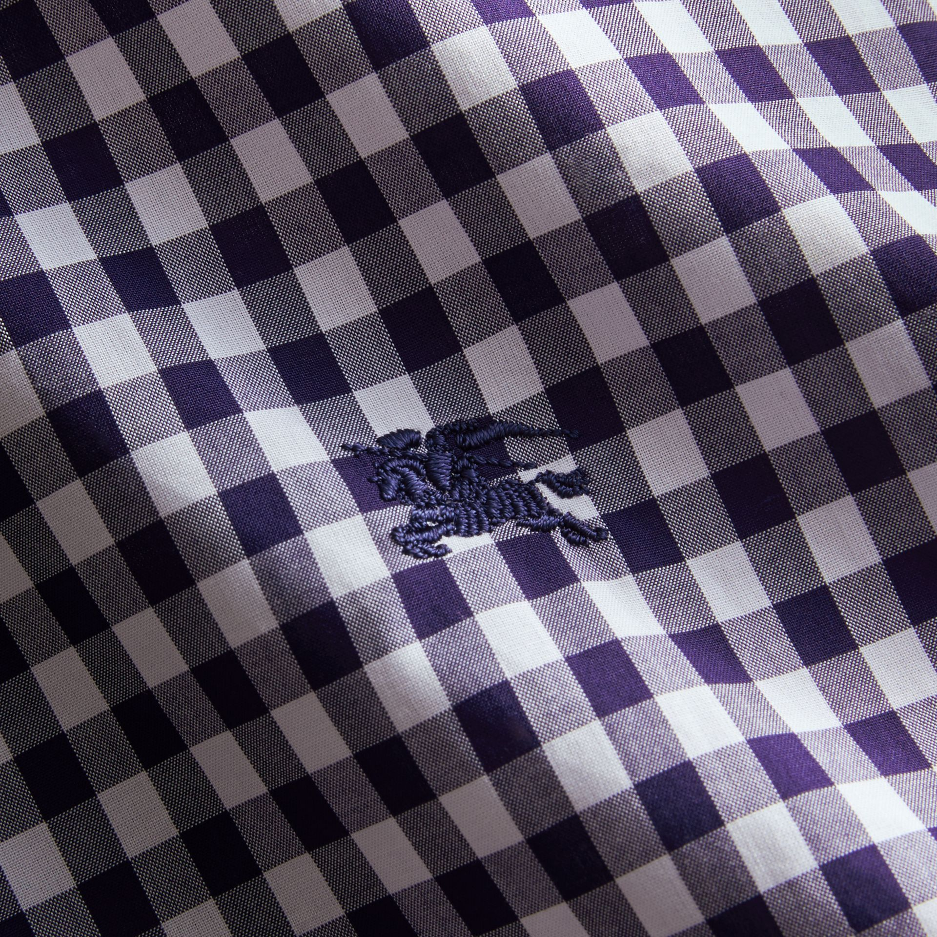 Short-sleeve Button-down Collar Cotton Gingham Shirt in Navy - Men | Burberry Canada - gallery image 2