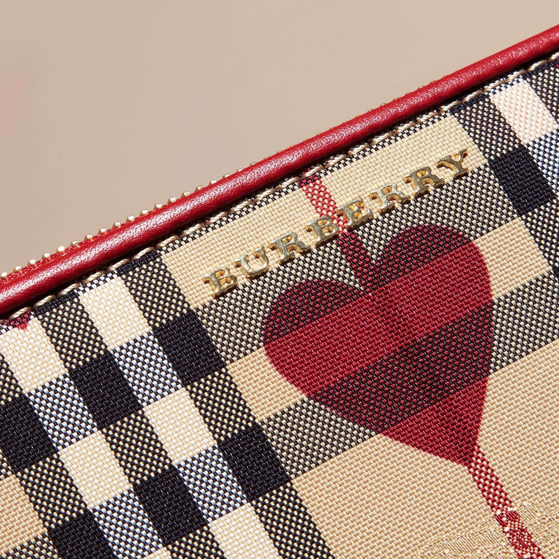 Parade red Heart Print Check and Leather Clutch Bag Parade Red - gallery image 7