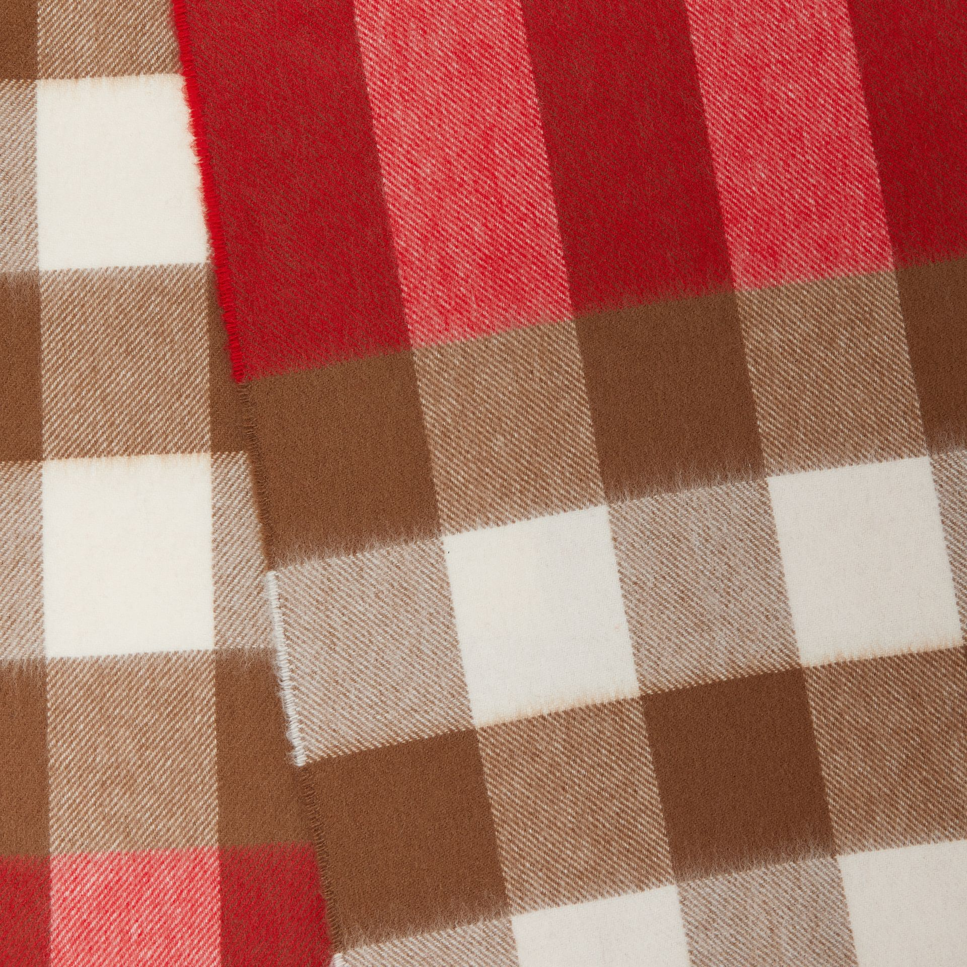 Check Cashmere Scarf in Bright Red | Burberry Hong Kong S.A.R - gallery image 1