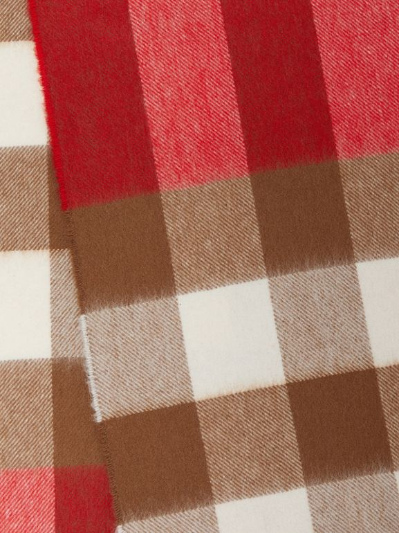 Check Cashmere Scarf in Bright Red | Burberry - cell image 1