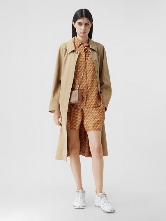 Tropical Gabardine Belted Car Coat in Honey