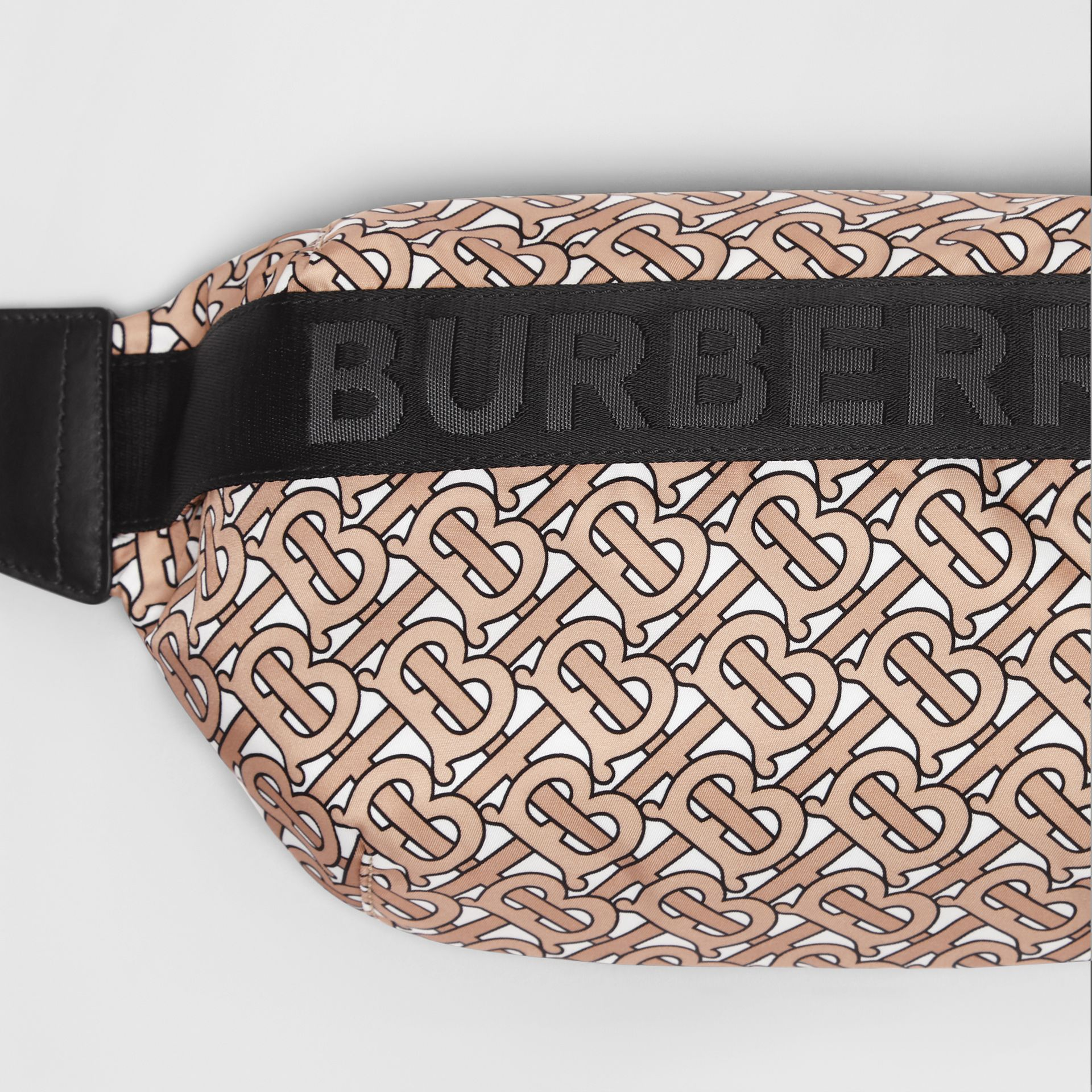 Medium Monogram Print Bum Bag in Beige | Burberry Australia - gallery image 1