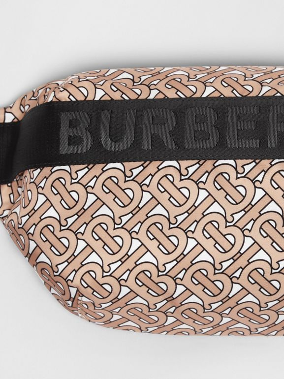 Medium Monogram Print Bum Bag in Beige | Burberry - cell image 1