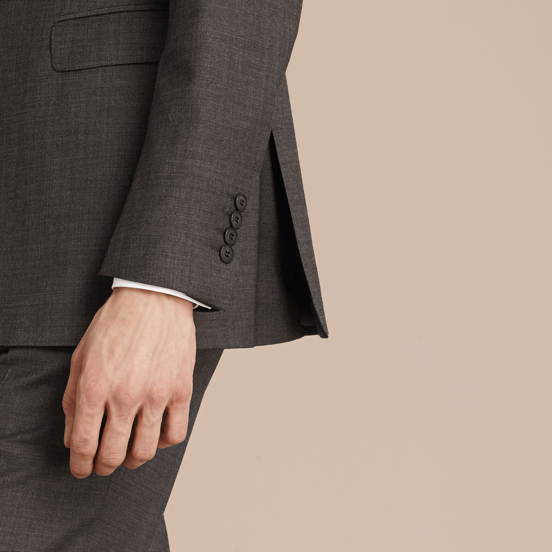Dark grey melange Modern Fit Travel Tailoring Virgin Wool Suit - gallery image 6