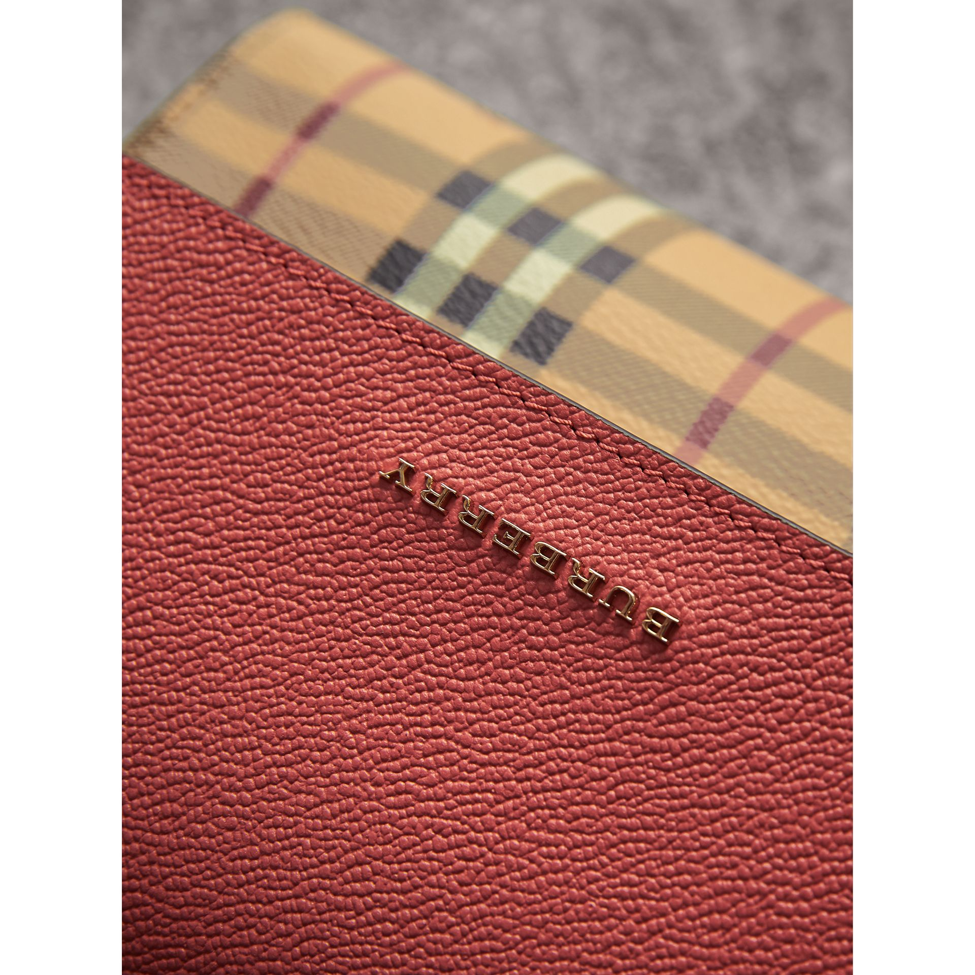 Haymarket Check and Leather Crossbody Bag in Cinnamon Red - Women | Burberry - gallery image 1
