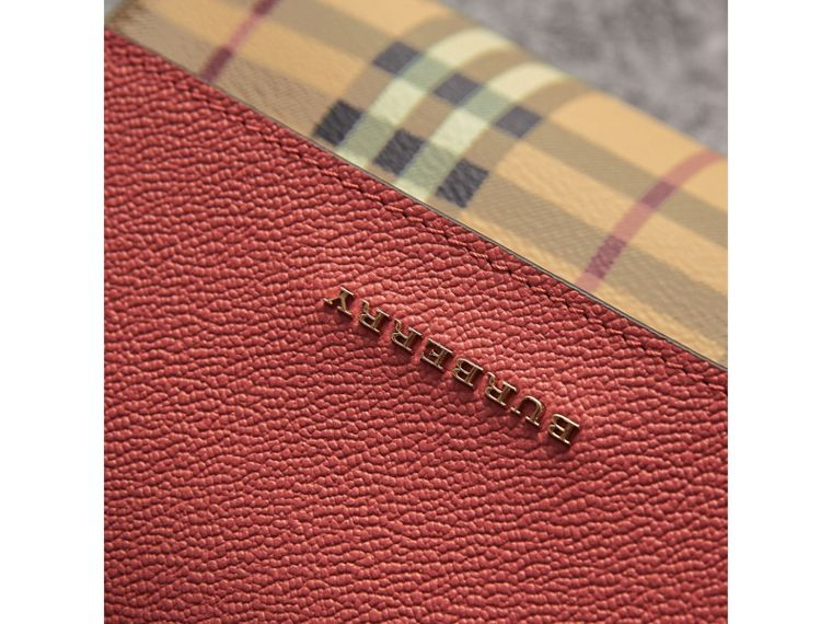 Haymarket Check and Leather Crossbody Bag in Cinnamon Red - Women | Burberry - cell image 1