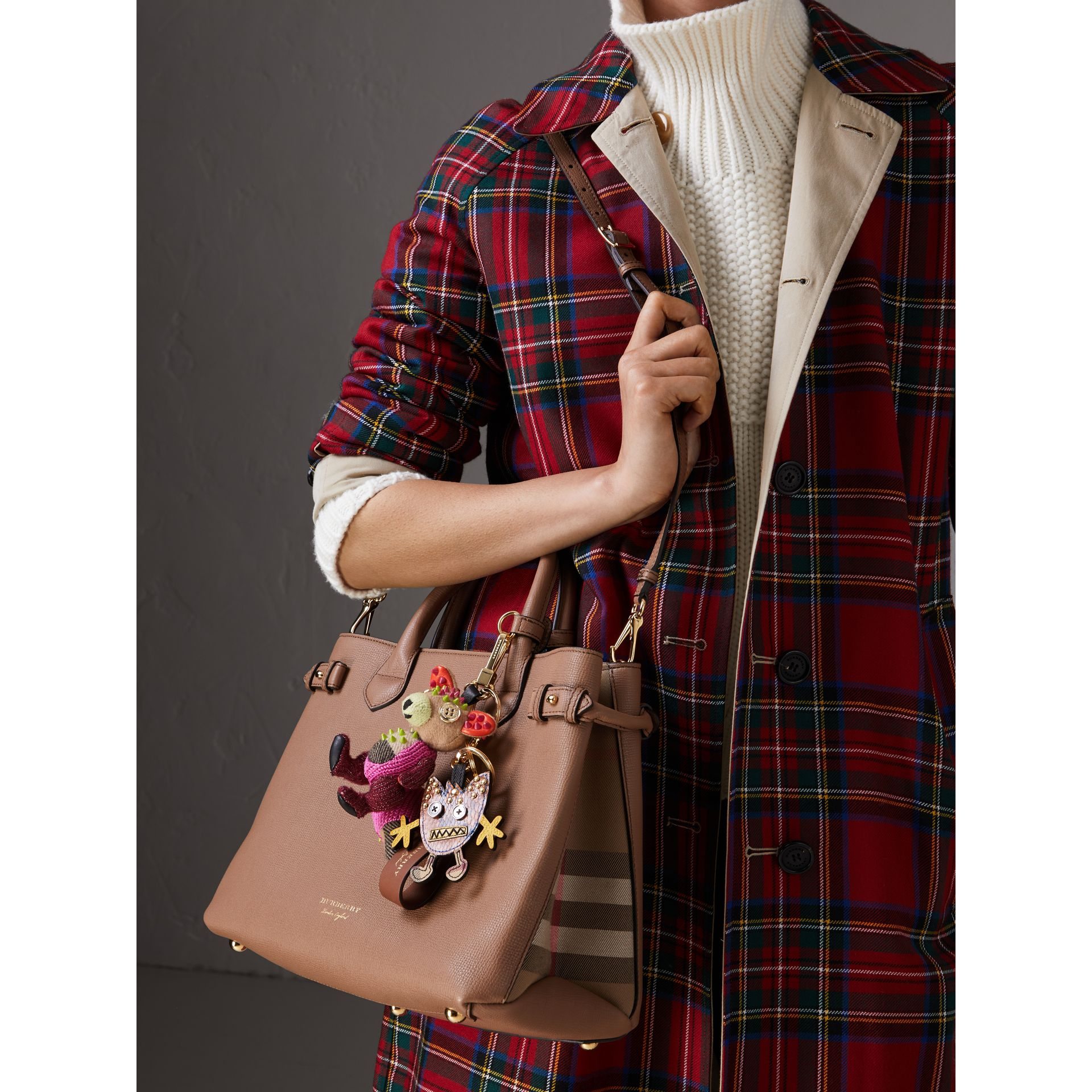 Sac The Banner medium en cuir et coton House check (Sable Foncé) - Femme | Burberry Canada - photo de la galerie 3