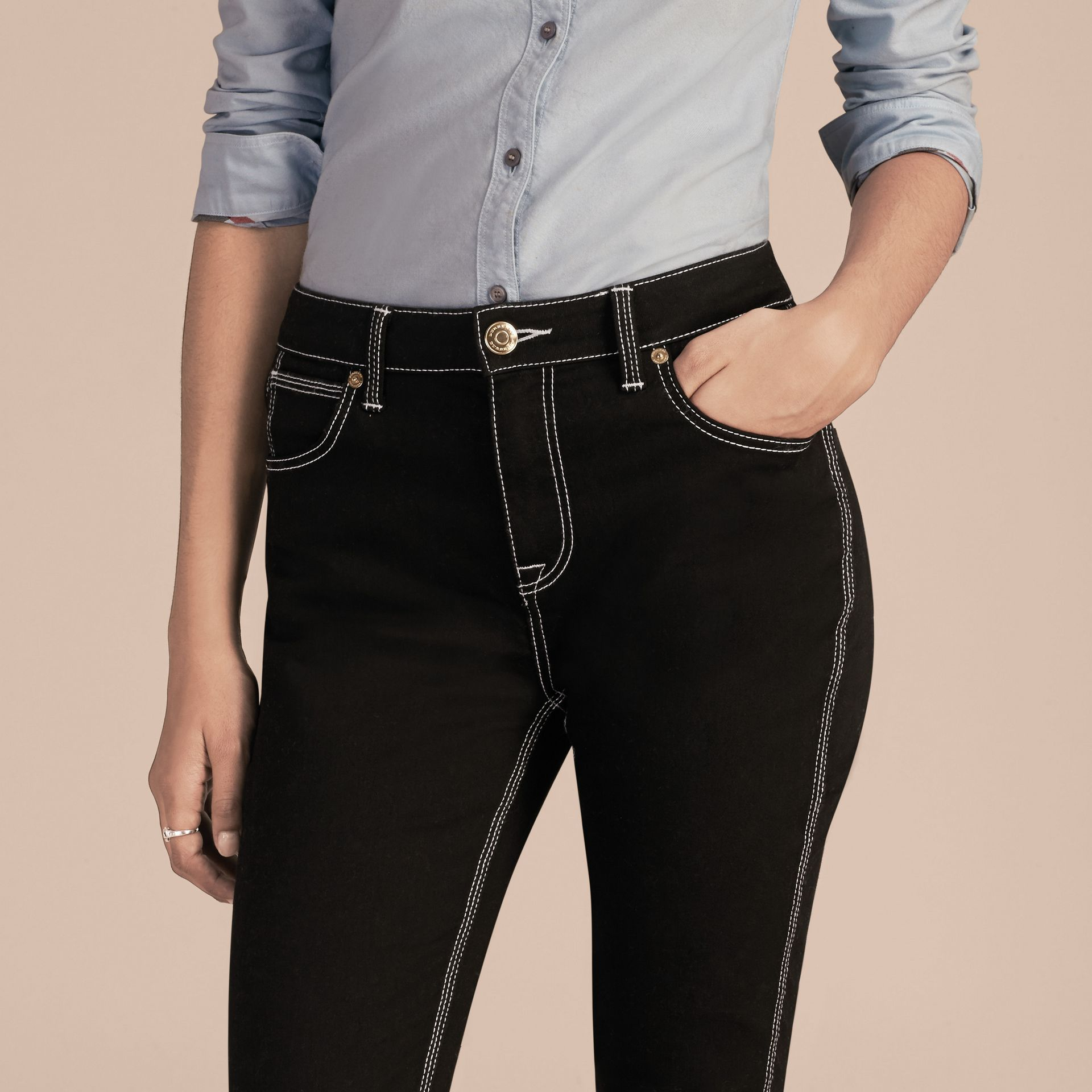 Black Skinny Fit Stretch Jeans with Contrast Topstitching - gallery image 5