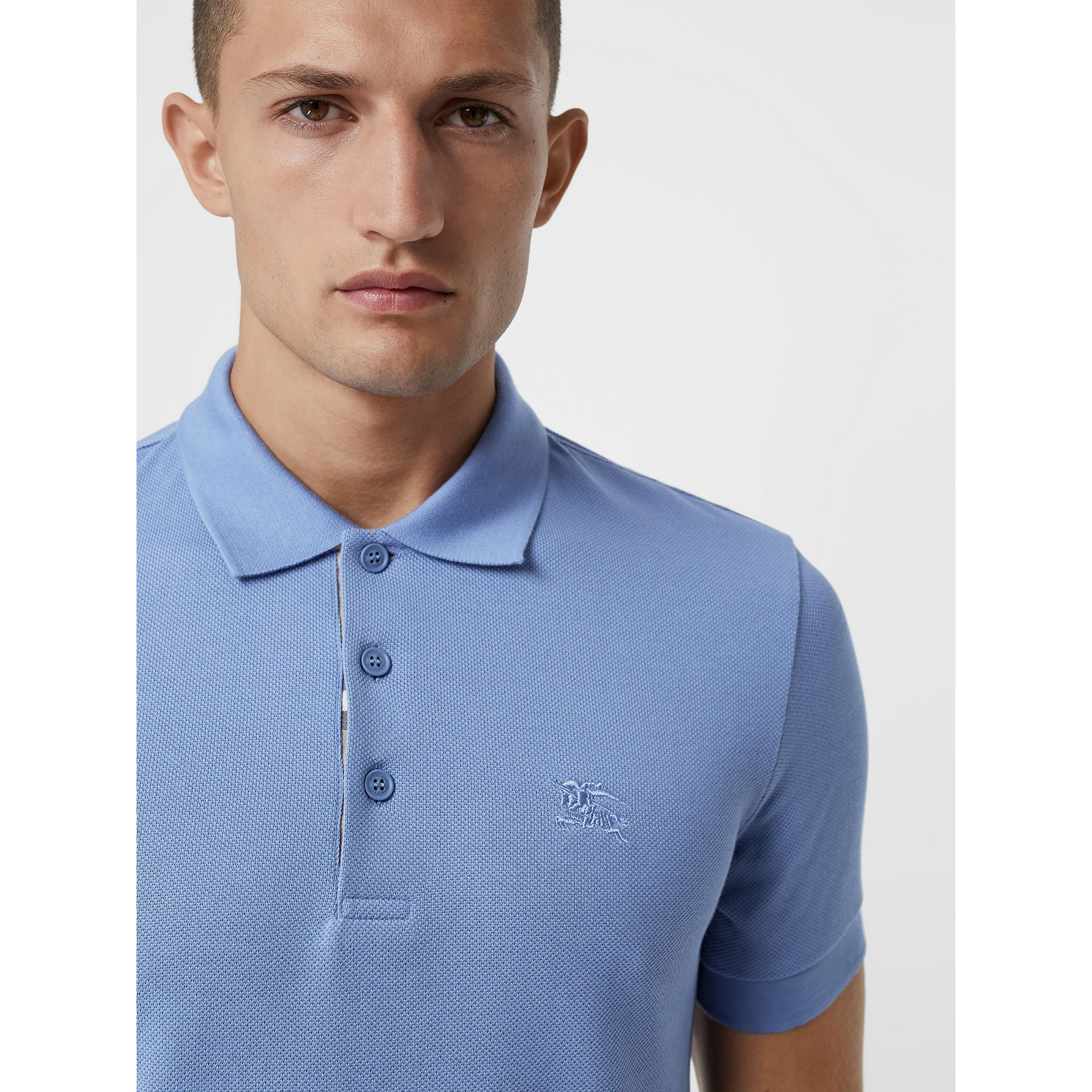 Check Placket Cotton Piqué Polo Shirt in Light Blue - Men | Burberry - gallery image 1