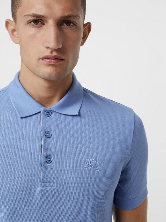 Check Placket Cotton Piqué Polo Shirt in Light Blue - Men | Burberry - cell image 1
