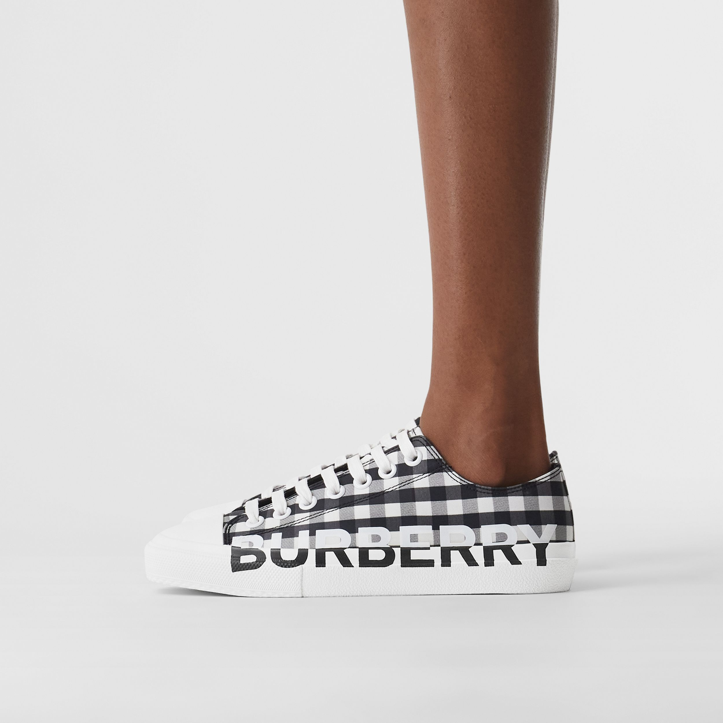 Logo Print Gingham Cotton Sneakers in Black/white - Women | Burberry - 3
