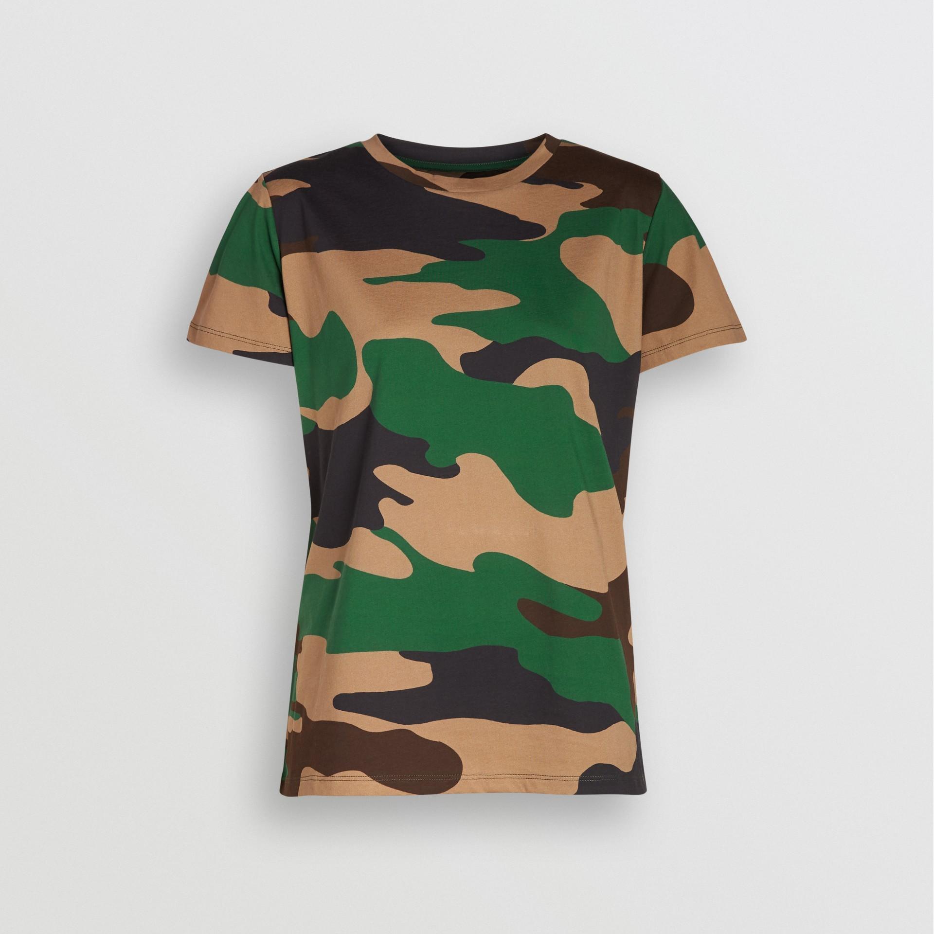 Camiseta camuflada de malha de algodão (Verde Floresta) - Mulheres | Burberry - galeria de imagens 3