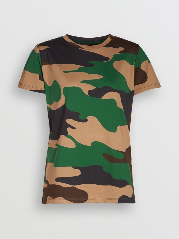 Camouflage Print Cotton Jersey T-shirt in Forest Green - Women | Burberry - cell image 3