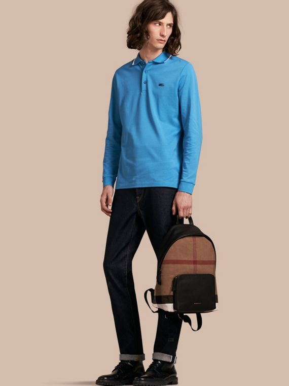 Long-sleeved Tipped Cotton Piqué Polo Shirt Chalk Blue