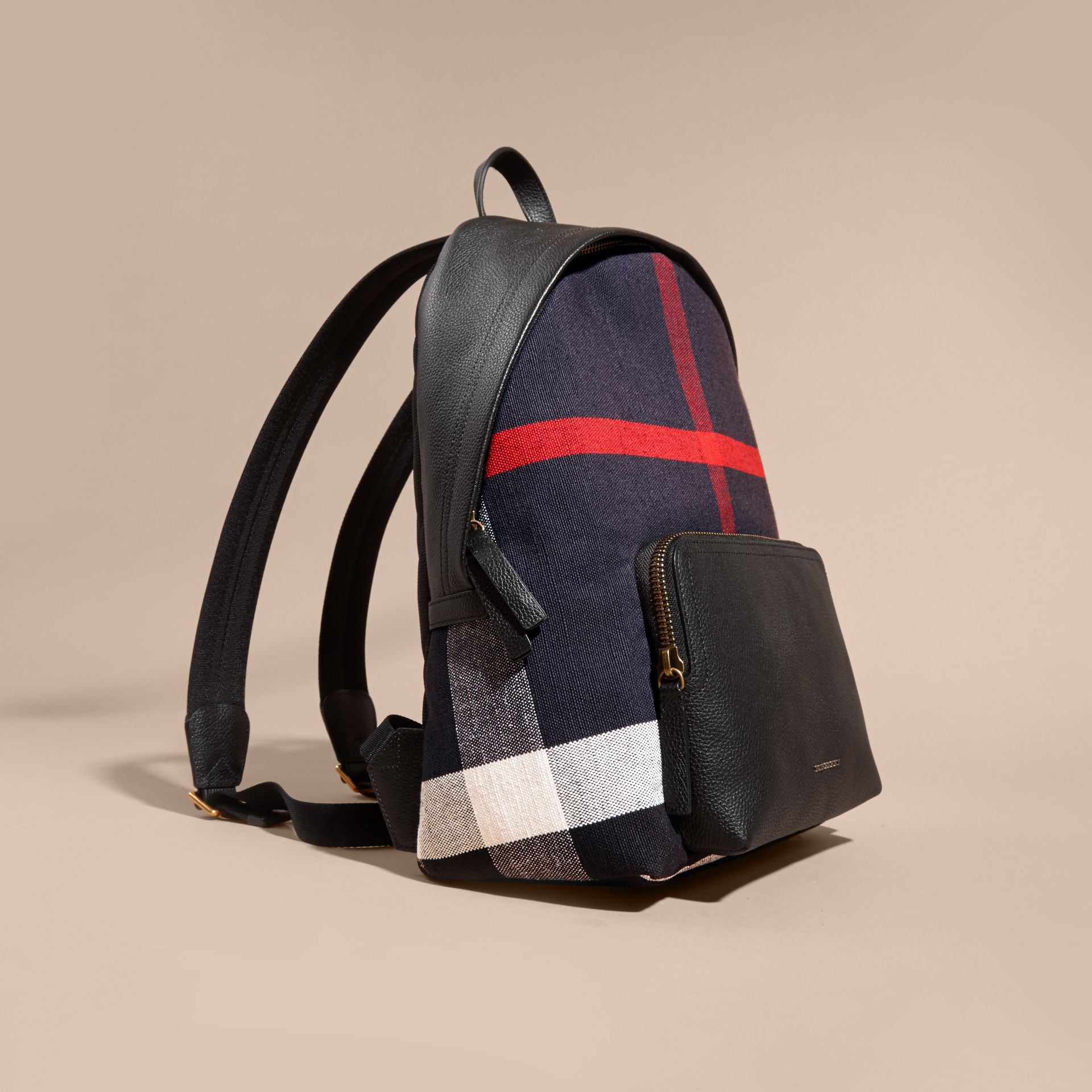 Black Canvas Check and Leather Backpack - gallery image 7