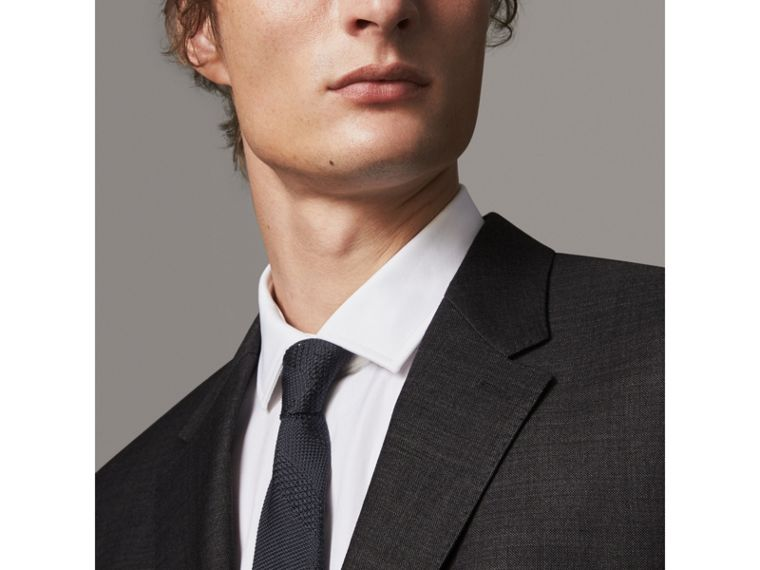 Modern Fit Travel Tailoring Virgin Wool Suit in Dark Grey Melange - Men | Burberry - cell image 1