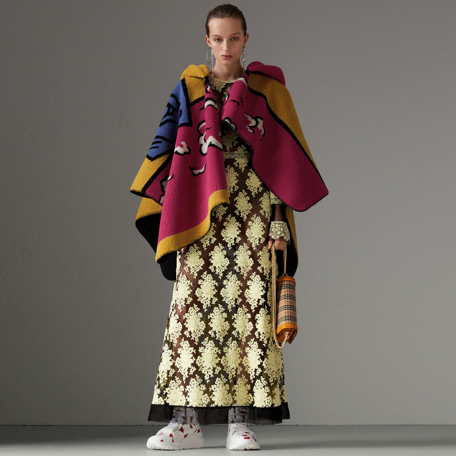 Poster Graphic Fleece Jacquard Hooded Poncho in Multicolour - Women | Burberry - gallery image 0