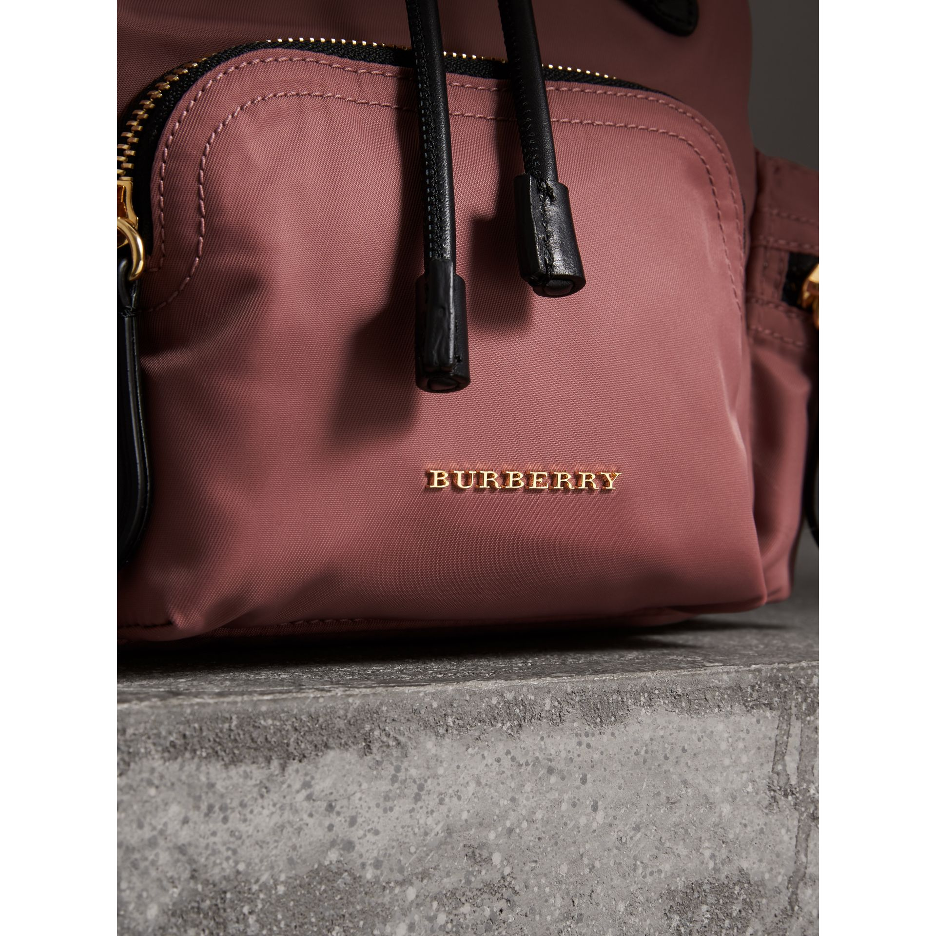 The Crossbody Rucksack in Nylon and Leather in Mauve Pink - Women | Burberry - gallery image 1