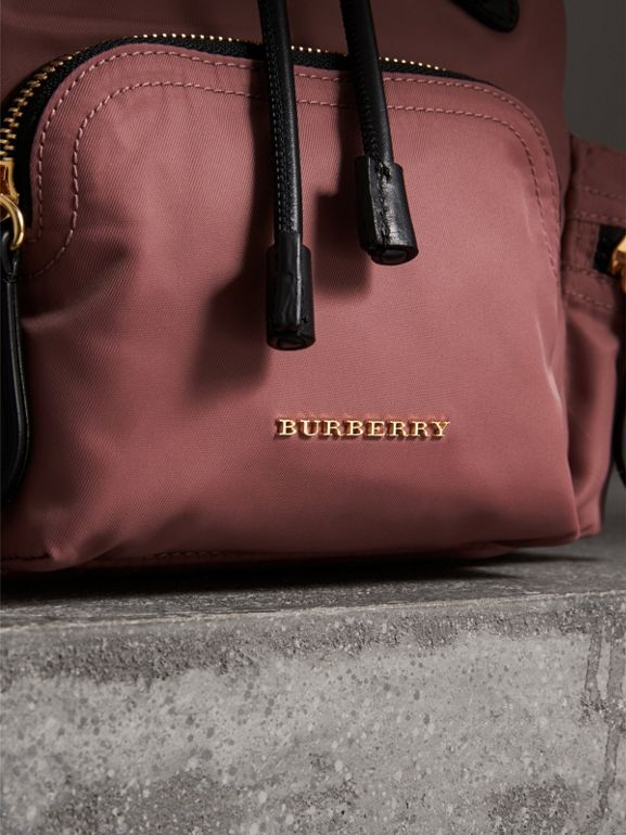 The Small Crossbody Rucksack in Nylon in Mauve Pink - Women | Burberry - cell image 1