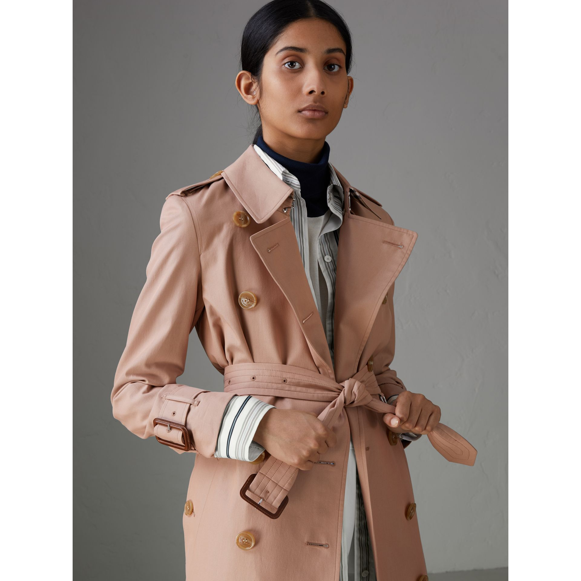 Tropical Gabardine Trench Coat in Pink Apricot - Women | Burberry Singapore - gallery image 1