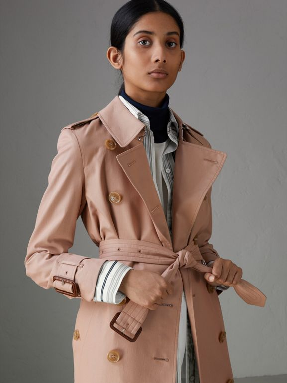 Tropical Gabardine Trench Coat in Pink Apricot - Women | Burberry Australia - cell image 1