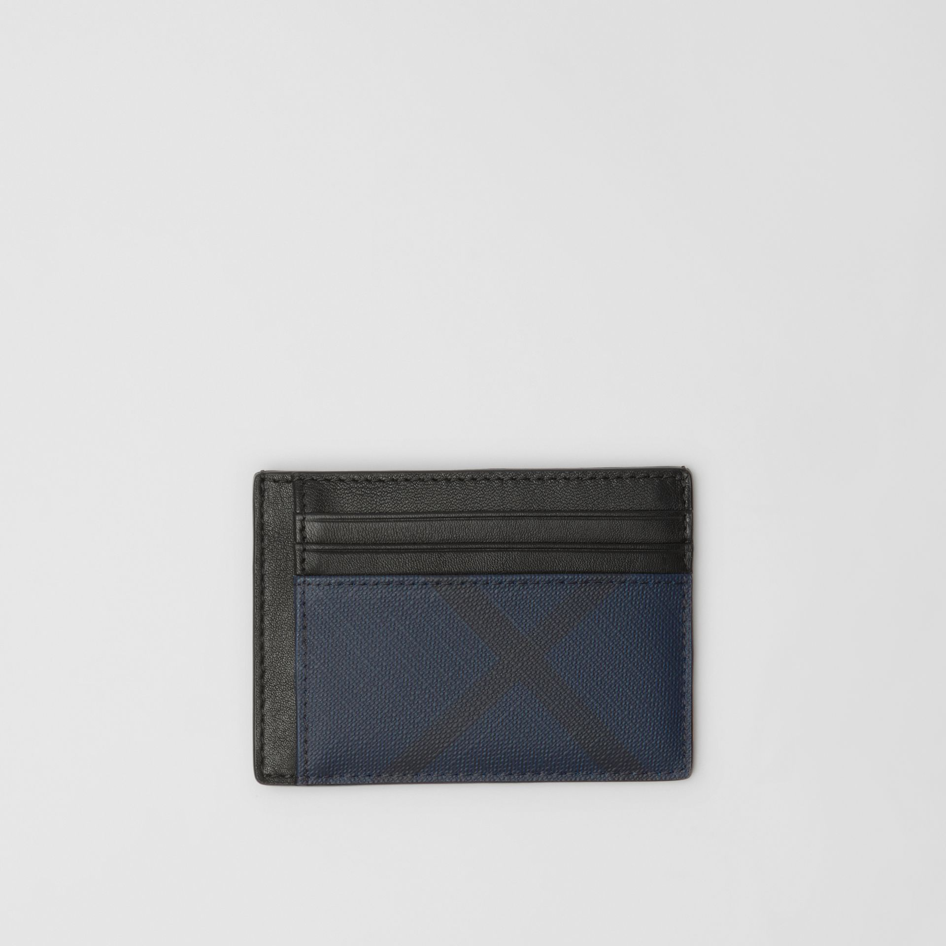 London Check and Leather Money Clip Card Case in Navy/black - Men | Burberry - gallery image 0