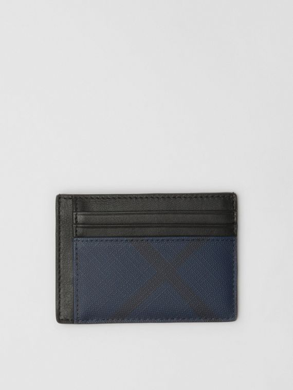 London Check and Leather Money Clip Card Case in Navy/black
