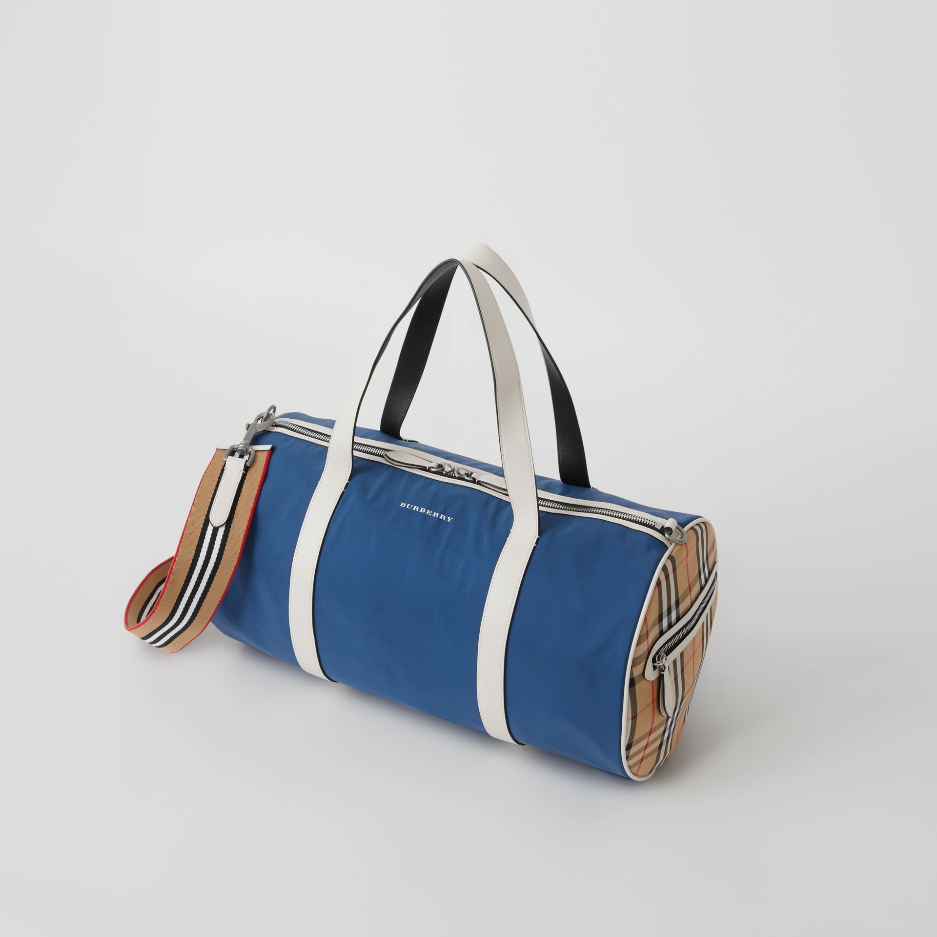 Medium Colour Block Vintage Check Barrel Bag in Dark Canvas Blue - Men | Burberry - gallery image 0