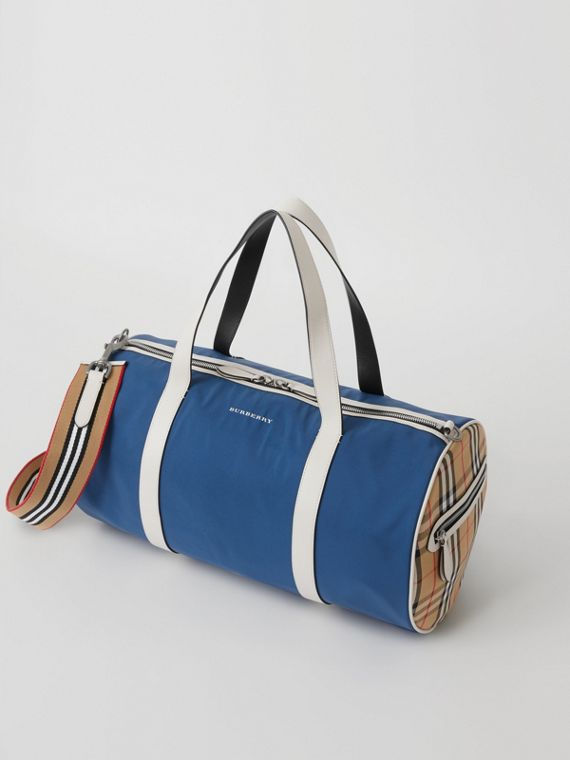Sac The Barrel moyen à motif Vintage check color-block (Bleu Toile Sombre)