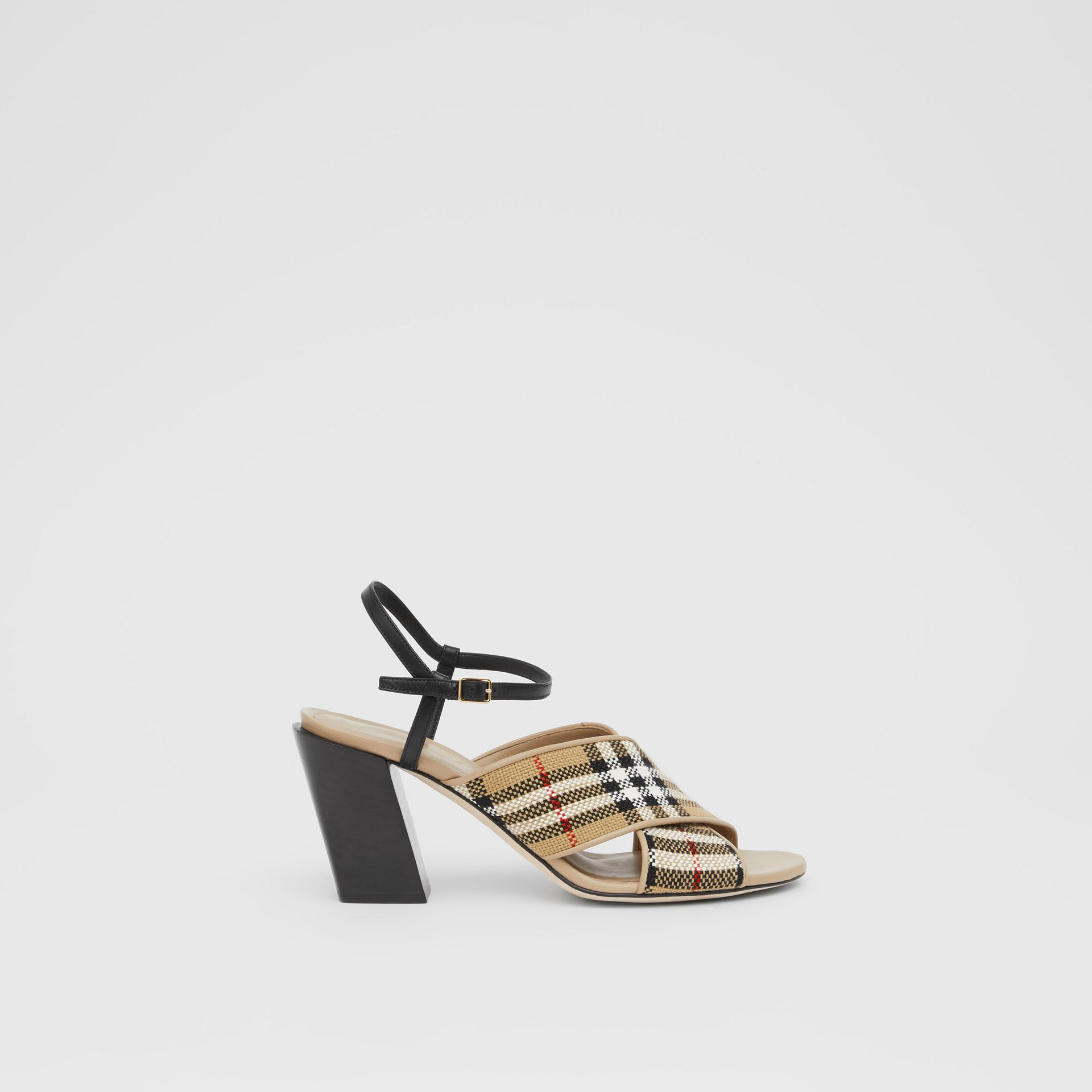 Latticed Cotton and Leather Block-heel Sandals in Archive Beige/black - Women | Burberry United Kingdom - gallery image 5